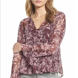 Lucky Brand Red Floral Two Piece Blouse